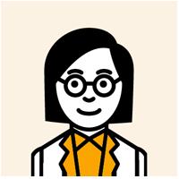 眼鏡をかけた若い女性のイラスト
