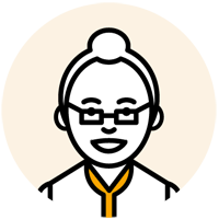 眼鏡をかけた中年の女性のイラスト