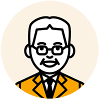 眼鏡をかけた中年の男性のイラスト